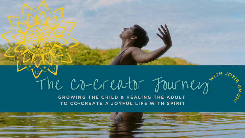 josie-in-water-with-arms-open-to-spirit-words-say-co-creator-journey